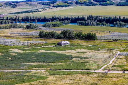 Historic farm house on the ranch. Glenbow Ranch Provincial Recreation Area, Alberta, Canada Stock Photo