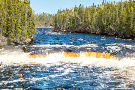 Big Falls roars across the entire width of the river. Sir Richard Squires Provincial Park, Newfoundland, Canada Stock Photo