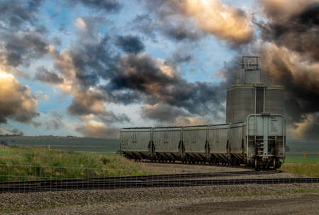 Rolling stock sitting on the rails near elevators outside of Huxley Alberta Canada