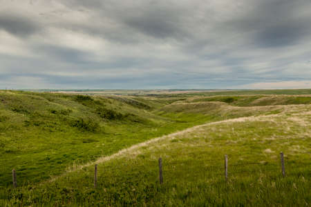 A mix of farm lands and bad lands Kneehill County Alberta Canada