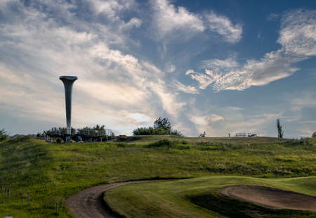 Worlds largest golf tee overlooking the gold course in Trochu Alberta Canada Banque d'images