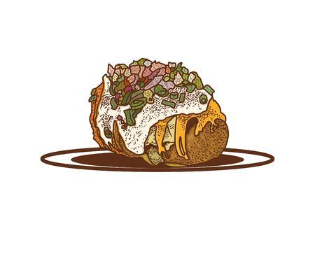 Baked Potatoes Stock Vector - 52254801