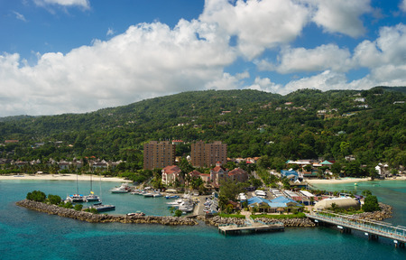 Panorama of Ocho Rios port in Jamaica from the sea Stock Photo