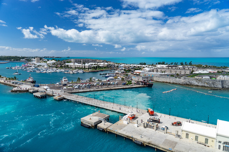 port in bermuda island with docked boats. Stock Photo