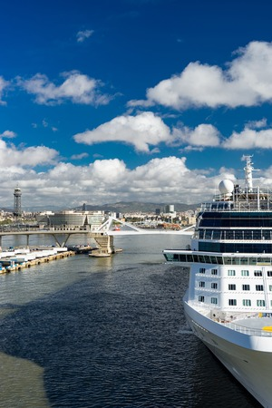 cruise ship in the port. Barcelona. Spaine. Summer vacation and holiday
