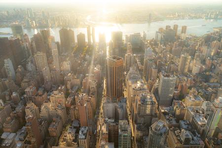 Amazing aerial panoramic view of Manhattan wit sunset
