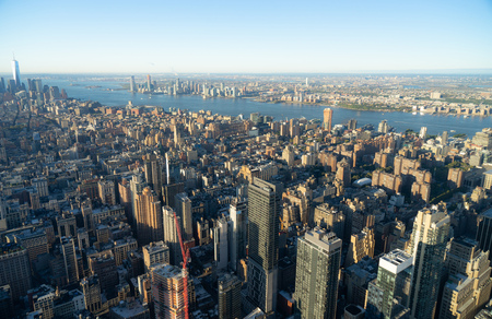 Aerial view of New York City skyline, Manhattan