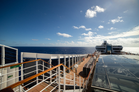 View of top deck of cruise ship in the sea at summer day Imagens