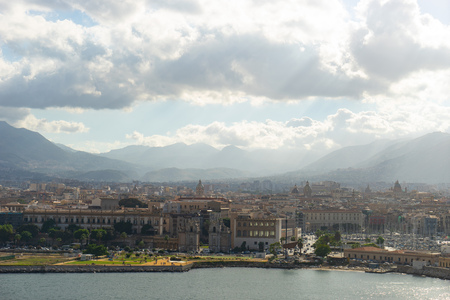 Aerial view from the sea of Palermo with mountains and clouds on background Archivio Fotografico
