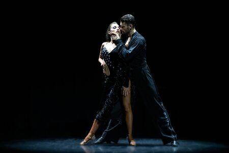 ballroom couple dancing isolated on black background Stock Photo
