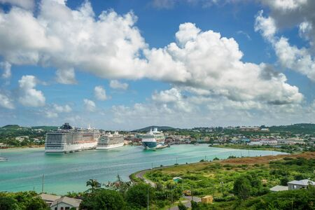 ST.JOHNS ANTIGUA AND BARBUDA with Cruise ships in port