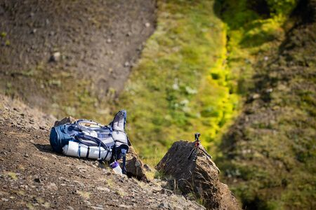 Hiking, camping equipment, backpacks lying on the ground