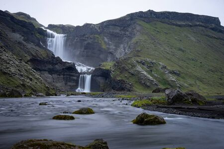 Two-tiered waterfall Ofaerufoss in the Eldgja canyon, in the central Iceland Stock Photo