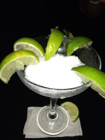 Salt and limes for tequila shots 版權商用圖片