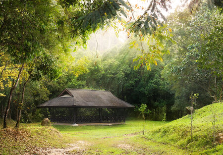 Public pavilion round by green forest with sunlight in Khao Yai national park, Thailand  photo