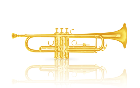 Gold trumpet instrument with shadow effect isolate on white background, include clipping path