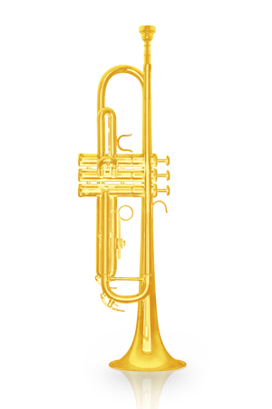 Gold trumpet instrument with shadow effect isolate on white  Stock Photo