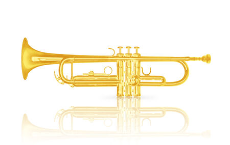 Gold trumpet instrument with shadow effect isolate on white