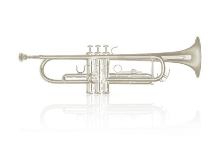 Silver trumpet instrument with shadow effect isolate on white