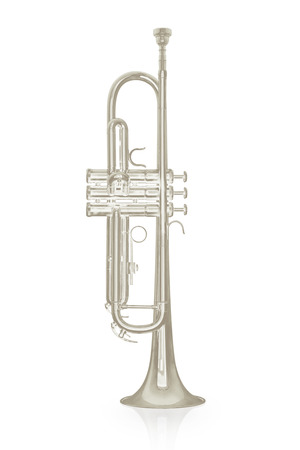 armstrong: Silver trumpet instrument with shadow effect isolate on white