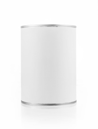 Close-up various white tin can on white background  Include clipping path  photo