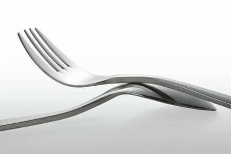 Metal spoon and fork isolate on white background, Clipping path photo