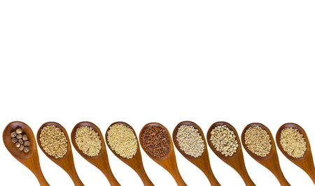 collection of grains in wooden spoon with separated shot isolated  photo