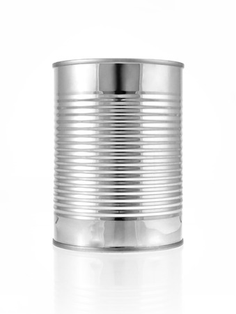 Metal can for preserved food on white