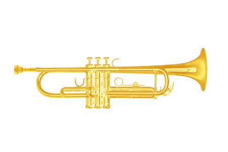 armstrong: Gold trumpet instrument on white background