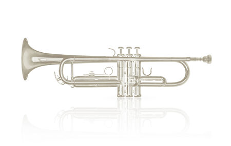 armstrong: Silver trumpet instrument with shadow effect isolate on white background Stock Photo