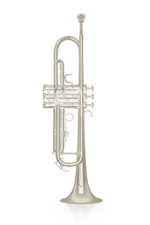 Silver trumpet instrument with shadow effect isolate on white background Stock Photo