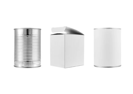 Metal can and various white box packages on white background photo