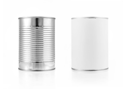 Close-up various metal and white tin can on white background separated shot photo