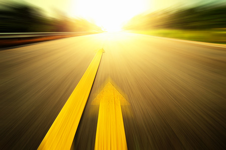 Road With Painted Yellow Line. Stock Photo