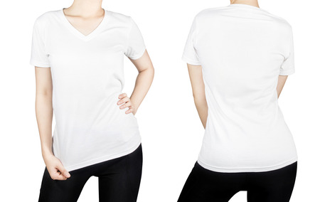 White T - shirt on woman body with front and back side isolated on white background. photo