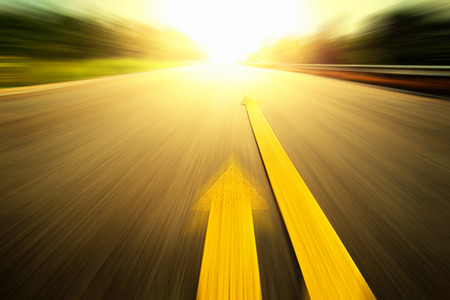 Road With Painted Yellow Line. photo