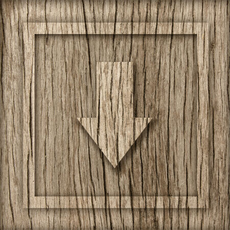 plywood: wood board with down arrow sign.