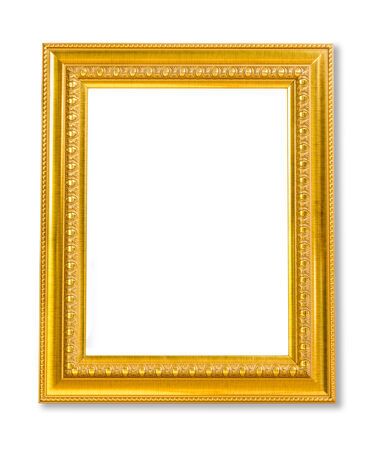 art exhibition: Vintage Golden frame with empty space isolated on white background. Include clipping path. Stock Photo