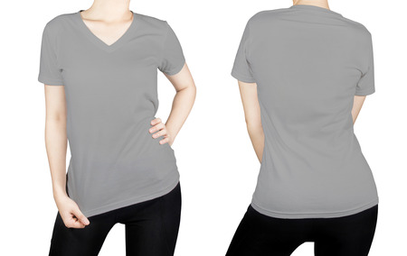Grey T-shirt on woman body with front and back side isolated on white background. photo