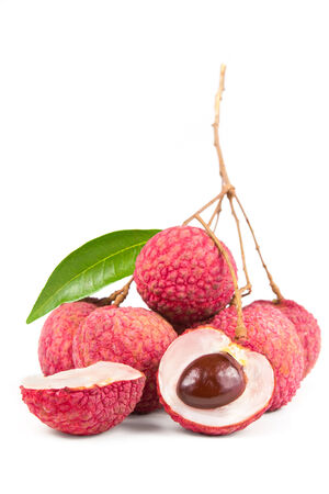 leechee: Fresh lychee with leaf isolated on white background.