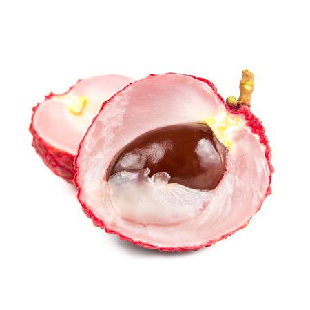 lichi: Fresh lychee isolated on white background. Stock Photo