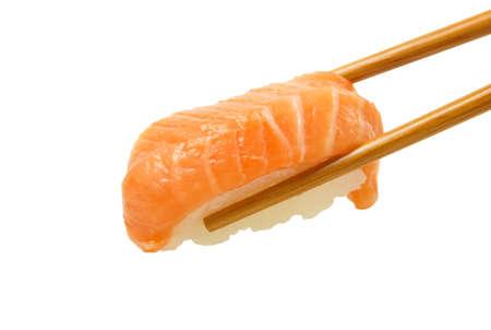SUSHI: Salmon sushi nigiri isolate on white background.
