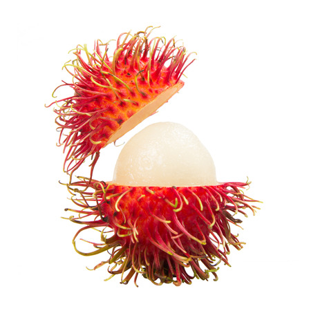 Fresh rambutan (tropical fruit) isolated on white background. photo