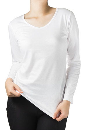 long sleeves: woman body in a white long sleeves t-shirt isolated on white background. Stock Photo