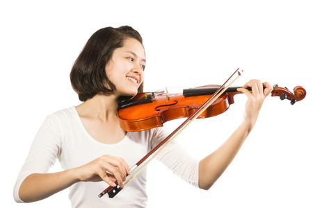 young woman with violin isolated on white background. photo