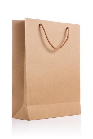빈 갈색 종이 가방 흰색 배경에 고립입니다. 스톡 콘텐츠