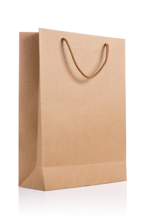 Empty brown paper bag isolated on white background.