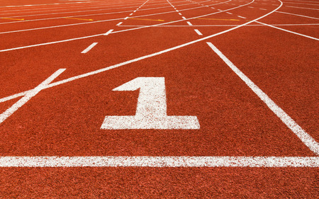 number one: Start track. Lanes 1, number one of a red racing track. Stock Photo