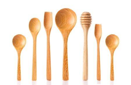 woodwork: Collection of woodwork spoon, dipper isolated on white background.