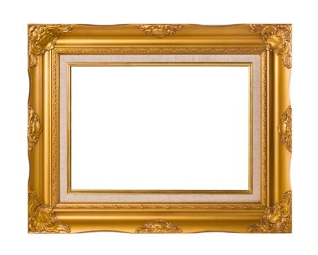 filagree: Vintage Golden frame with empty space isolated on white background Stock Photo